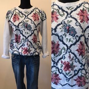 Vintage Rachel Max Floral Knit Sweater Medium